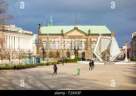 Freedom fountain seen across freedom square Poznan Poland - Stock Image