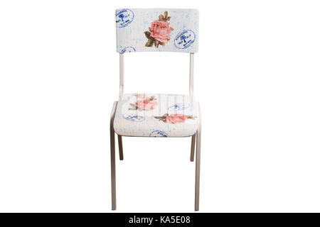 Vintage school chair decorated with decoupage technique. Isolated on white background. - Stock Image