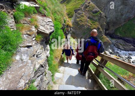 Steep steps down at Tintagel Castle,Cornwall,England,UK - Stock Image