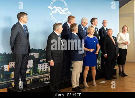 Stockholm, Sweden, June 18, 2018. Foreign Minister Margot Wallström host a ministerial meeting in Stockholm within the Council of the Baltic Sea States, CBSS. The meeting primarily discuss the future role of Baltic Sea cooperation, common security, rescue services, combating trafficking and support for vulnerable children and young people. - Stock Image