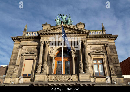 Detail of the facade of the Teylers Museum in Haarlem, the Netherlands. The long-established museum has a broad and eclectic collection. - Stock Image