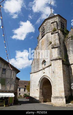 Eglise Saint-Felicien d'Issigeac, the central church in the medieval bastide town of Issigeac, the Dordogne, France Europe - Stock Image