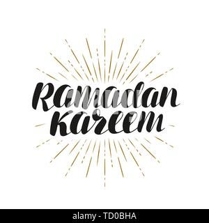 Ramadan Kareem, greeting card. Lettering, vector illustration - Stock Image
