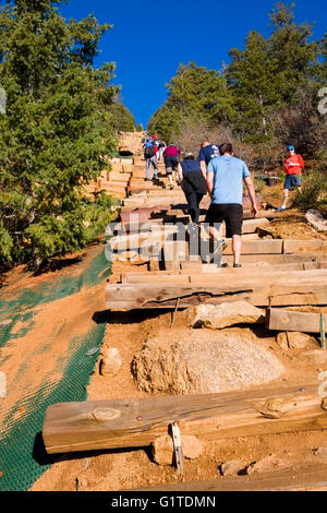 Hikers climbing the Manitou Incline and descending via the Barr Trail on Pikes Peak Colorado on a beautiful spring - Stock Image