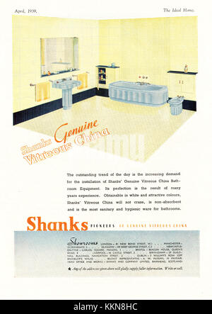 1939 UK Magazine Shanks Bathrooms Advert - Stock Image