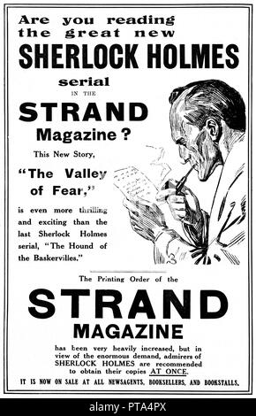 Sherlock Holmes, Valley of Fear, 1914 advert for the initial serialisation of the fourth and final Holmes book on the great detective from Sir Arthur Conan Doyle in Strand Magazine - Stock Image