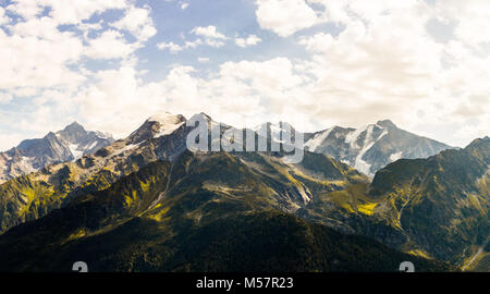 beautiful mountains in the gorgous swiss alps in switzerland, europe on a traveling road trip - Stock Image