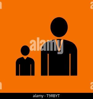 Man Boss With Subordinate Icon. Black on Orange Background. Vector Illustration. - Stock Image