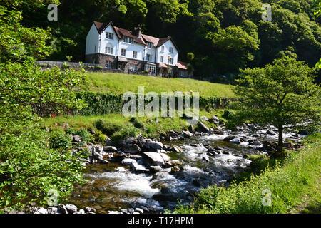 Riverside Walk between Watersmeet and Lynmouth in Devon, UK - Stock Image