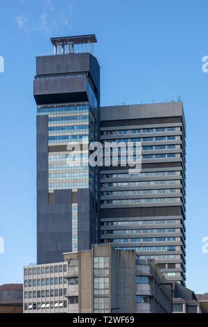 Reclad Guy's Tower, Guy's Hospital, Southwark, London, UK with light installation by artist Carsten Nicolai - Stock Image