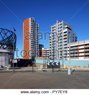 Vermillion tower and the Rathbone Market regeneration scheme: Canning Town London. - Stock Image