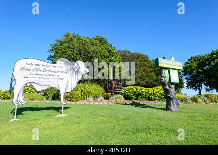 Welcome to Georgetown sign, a small rural town along the Savannah Way, Queensland, QLD, Australia - Stock Image