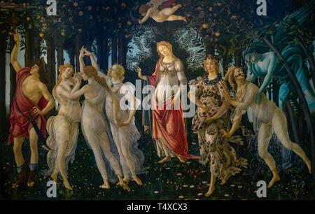 Primavera, Spring,  Sandro Botticelli, circa 1482, Galleria degli Uffizi, Uffizi Gallery, Florence, Tuscany, Italy - Stock Image