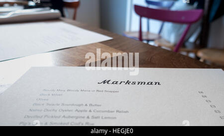 Menu of the renowned Marksman Pub in Hackney Road, London E2. - Stock Image
