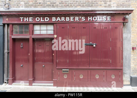 The Old Barber's House in Puma Court, east London, England, UK - Stock Image