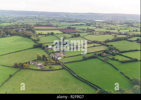 Fields and hedges on the approach to Bristol Airport North Somerset england - Stock Image