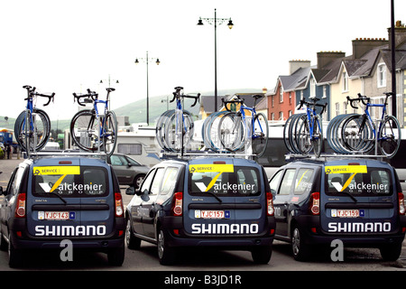Racing bikes on the roofs of Belgian support vans at the end of the forth stage on the Tour Of Ireland Cycle Race - Stock Image