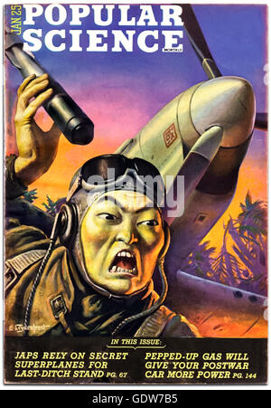 "Front cover of ""Popular Science"" January 1945, typical of WW2 anti-Japanese propaganda depicting the ""Yellow Peril"", - Stock Image"