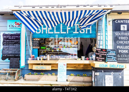 Shellfish stall Whitby, Shellfish stall, Shellfish, Shellfish Whitby, Whitby shellfish, shellfish sign, Whitby, Yorkshire, UK, England, stall, sign, - Stock Image