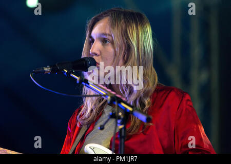 Amber Bain of The Japanese House performing live at a music festival in 2017. The Japanese House singer, Amber Bain singer. - Stock Image