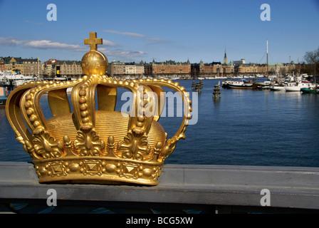 Stockholm Sweden. View over Strandvägen from the crown decorated Skeppsholmen bridge - Stock Image
