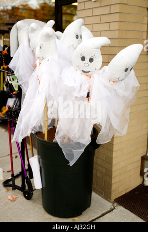 Ghost Halloween Decorations in a bin - Stock Image