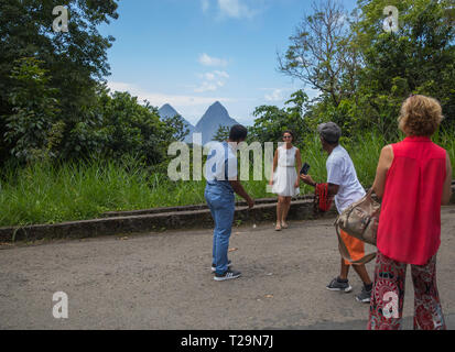 Tourists are taken to a viewpoint to see the famous Pitons in St Lucia, A Caribbean Island - Stock Image