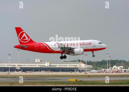 TC-ATD AtlasGlobal Airbus A319-100 landing at Malpensa (MXP / LIMC), Milan, Italy - Stock Image