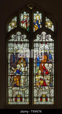 Stained glass window church Saint Margaret, South Elmham, Suffolk, England, UK  c 1910 - Stock Image