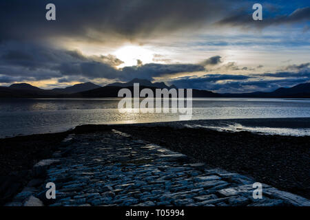 Ben Loyal from the Kyle of Tongue, Sutherland, Scotland, UK - Stock Image