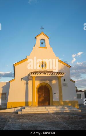 Badajoz, Spain - Oct 21th, 2018: San Isidro Hermitage Shrine at Badajoz outskirts. Sunset light - Stock Image