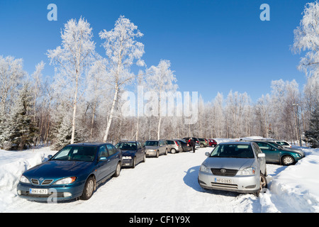 Car park at Winter , Finland - Stock Image