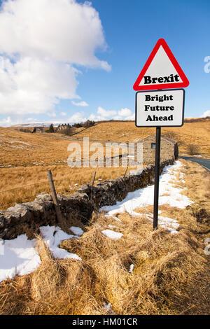 Brexit bright future ahead concept sign UK future after EU referendum result leave EU Europe - Stock Image