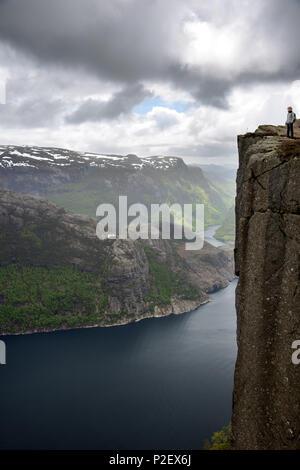 Preikestolen, View, Lysefjord, Ryfylke, Rogaland, Norway, Europe - Stock Image