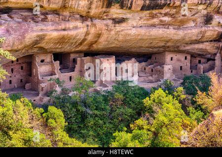 Mesa Verde National Park Colorado USA. Puebloan dwellings in cliff face. - Stock Image