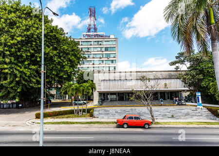 Post office behind Building of Ministry of Information and Communications in Havana, Cuba Cuban post office - Stock Image