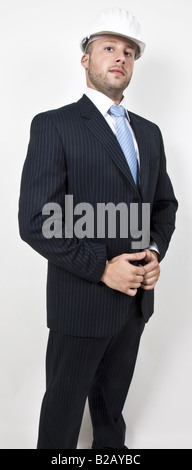 engineer in suit with hat - Stock Image