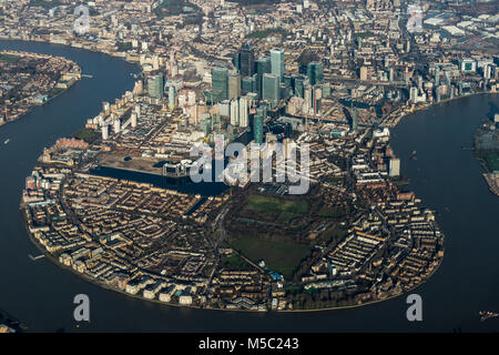 Aerial view of Canary Wharf, London from the south. - Stock Image