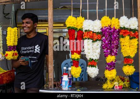 Garlands for Sale outside a Hindu Temple, Kuala Lumpur, Malaysia. - Stock Image