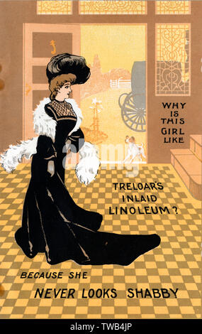 """Why is this girl like Treloar's Inlaid Linoleum? Because she never looks shabby"""" !!     Date: circa 1890s - Stock Image"""