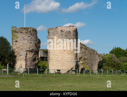 The Towers and Remains of The Norman, Bungay Castle, in Bungay, Suffolk, England, UK - Stock Image