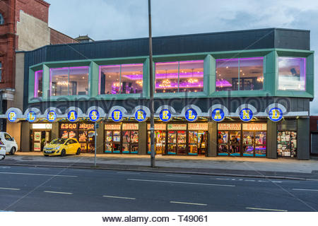 Pleasureland, an amusement arcade on Marine Road, Morecambe, Lancashier, England, UK - Stock Image
