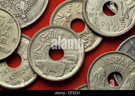 Coins of Spain. Bulls of Guisando in Avila, Castile and Leon, Spain depicted in the Spanish 25 peseta coin (1995). - Stock Image