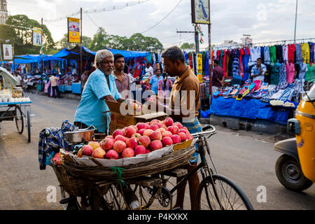 Indian men selling and buying apples at the street market on Netaji Subhas Chandra Bose Rd, Tiruchirappalli (Trichy), Tamil Nadu, India. - Stock Image