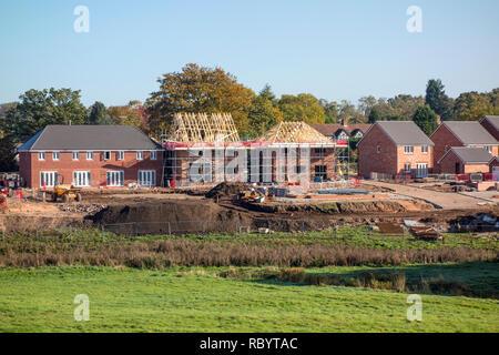 New build housing development, Somerford, Congleton, Cheshire, UK - Stock Image