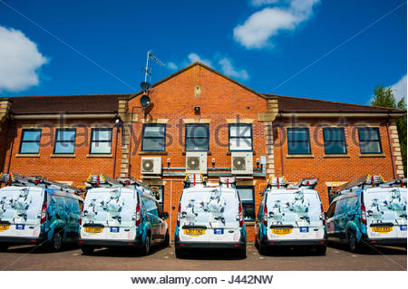 Crewe, Cheshire, UK. 9th May, 2017. A brand new fleet of newly delivered Sky installation satellite and engineering - Stock Image