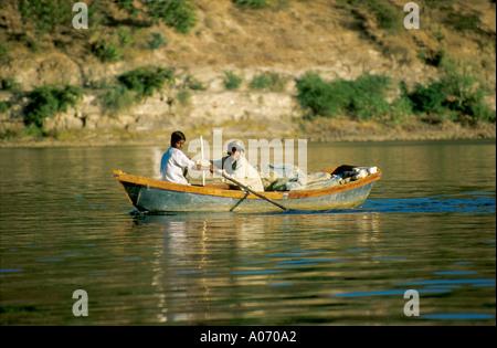Young Fishermen, Lake Pichola, Udaipur, Rajasthan, India - Stock Image