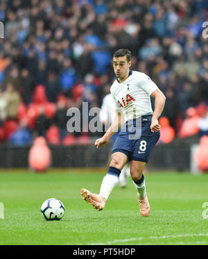Harry Winks of Spurs during the Premier League match between Tottenham Hotspur and Cardiff City at Wembley Stadium , London , 06 October 2018 - Stock Image