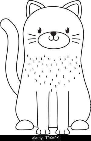 Cat cartoon design, Animal cute zoo life nature and fauna theme Vector illustration - Stock Image
