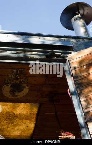 Close up of a travellers truck chimney. - Stock Image